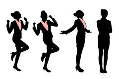 Silhouettes of excited business woman Royalty Free Stock Photography