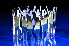 Silhouettes of exited people Royalty Free Stock Photos