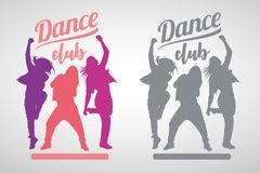Silhouettes of expressive girls dancing modern dance styles royalty free illustration