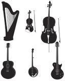 silhouettes för 1 musikal Arkivbild