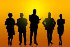 silhouettes för affärsfolk arkivbild