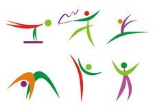 silhouettes för konditiongymnastikfolk Arkivbild