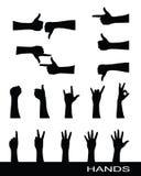 silhouettes för samlingshandtecken Royaltyfri Fotografi