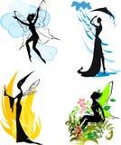 Silhouettes of fairies Stock Photos