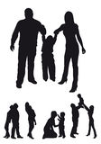 Silhouettes of family Royalty Free Stock Photos