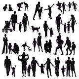 Silhouettes of family life Royalty Free Stock Photography