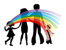 Silhouettes of family with a rainbow Royalty Free Stock Image