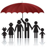 Silhouettes of family under umbrella cover. Silhouettes of woman man kid grandfather grandmother family under umbrella cover. Vector illustration. Element for Stock Images