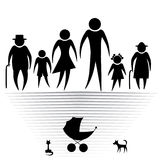 Silhouettes of family Stock Image