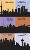 Silhouettes of famous cities. Royalty Free Stock Photo