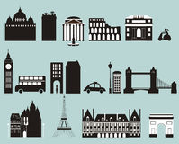 Silhouettes of famous cities. Stock Photo