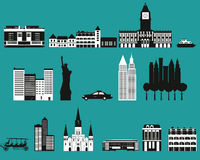 Silhouettes of famous cities. Royalty Free Stock Images