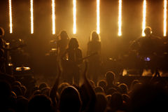 Silhouettes of fans at live pop concert royalty free stock photos