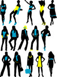 Silhouettes fashion woman Royalty Free Stock Image