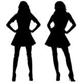 Silhouettes of fashion women Stock Image