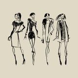 Silhouettes of Fashion Women Royalty Free Stock Images