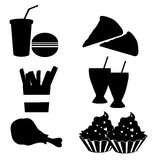 Silhouettes of fast food Royalty Free Stock Photo
