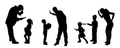 silhouettes. Of father and mother with children Royalty Free Stock Photos