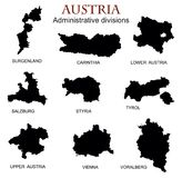Silhouettes of the federal states of Austria, . Silhouettes of the federal states of Austria,  illustration. Austria map of federal states Royalty Free Stock Image