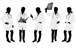 Silhouettes of female doctor Royalty Free Stock Photos