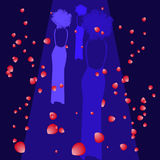 Silhouettes of female models on catwalk, rose petals in the air, vector Stock Images