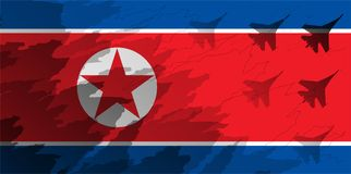 Silhouettes of fighter unit against the background of the flag of North Korea.. Silhouettes of fighter unit against the background of the flag of North Korea Royalty Free Stock Images
