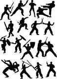 Silhouettes of fighters. Illustration with different fighter silhouettes isolated on white background Royalty Free Stock Photography