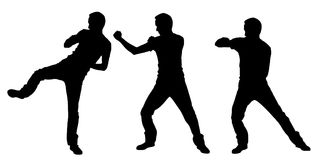 Silhouettes of fighting men. Isolated on white Royalty Free Stock Photos