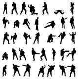 Silhouettes of the fighting men - vector set. Stock Photo