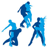 Silhouettes of figure skaters. Detailed vector silhouettes of figure skaters Royalty Free Stock Photography