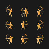 Silhouettes of figures archer icons set Royalty Free Stock Image