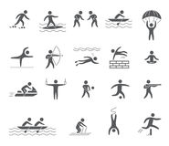 Silhouettes figures of athletes Stock Photo