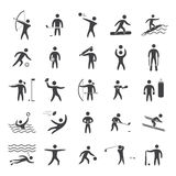 Silhouettes figures of athletes. Popular sports. Black shape  icon set Royalty Free Stock Photo