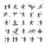 Silhouettes figures of athletes. Popular sports. Black shape  icon set Royalty Free Stock Photography