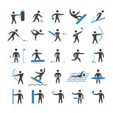 Silhouettes figures of athletes. Popular sports. Two color shape  icon and logo set Stock Photo