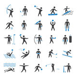 Silhouettes figures of athletes. Popular sports. Two color shape  icon and logo set Royalty Free Stock Photos
