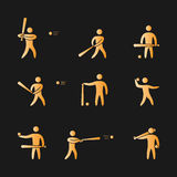 Silhouettes of figures baseball player icons set. Gold silhouettes of figures baseball player icons set. Baseball  symbols Stock Photography