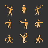 Silhouettes of figures basketball player icons set. Basketball  symbols Stock Photos