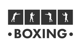 Silhouettes of figures boxers and boxing logo. Stock Photography
