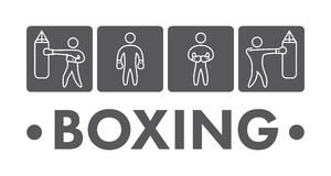 Silhouettes of figures boxers Royalty Free Stock Photo