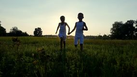 Silhouettes, figures of children, boy and girl are running, having fun, against the background of the sun, at sunset in stock video footage