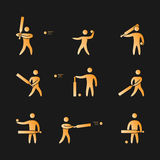 Silhouettes of figures cricket player icons set. Cricket  symbols Royalty Free Stock Photo
