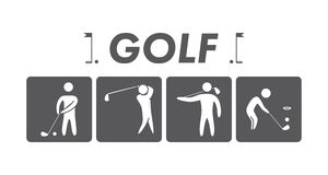 Silhouettes of figures golfers Royalty Free Stock Images