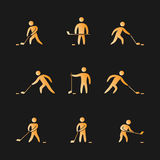 Silhouettes of figures hockey player icons set. Hockey  symbols Royalty Free Stock Photos