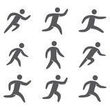 Silhouettes figures set of runners. Sports icons running Royalty Free Stock Images