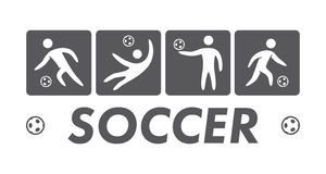 Silhouettes of figures soccer athletes. Vector sport logo Royalty Free Stock Photography
