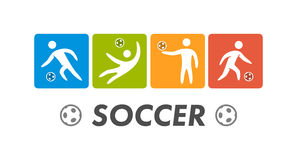 Silhouettes of figures soccer athletes. Vector sport logo Royalty Free Stock Photos