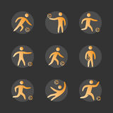 Silhouettes of figures soccer player icons set. Soccer  symbols Royalty Free Stock Image