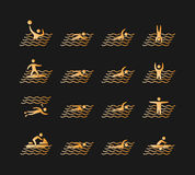 Silhouettes of figures swimmers icons set. Stock Photography