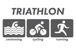 Silhouettes of figures triathlon athletes. Swimming, cycling, running symbols and icons. Vector sport logo Royalty Free Stock Photography